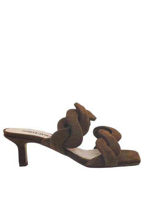Calzature Donna Sandali in Camoscio Cuoio con Doppia Fascia Intrecciata Tacco 60 Janet & Janet | Sandali | 01153014