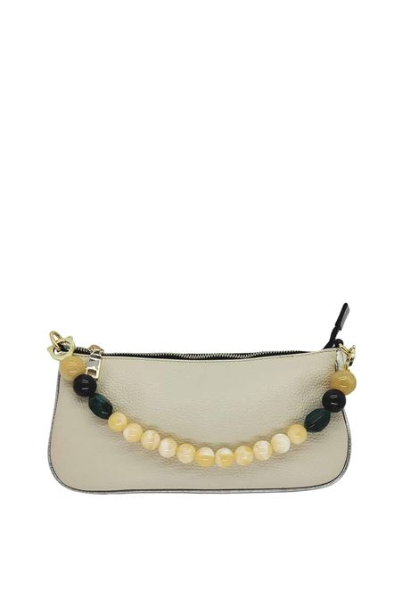 Women's Bags Beige Eco Leather Clutch Bag with Gold Chain and Multicolor Resin Handle Kassiopea | Bags and backpacks | MISSY015