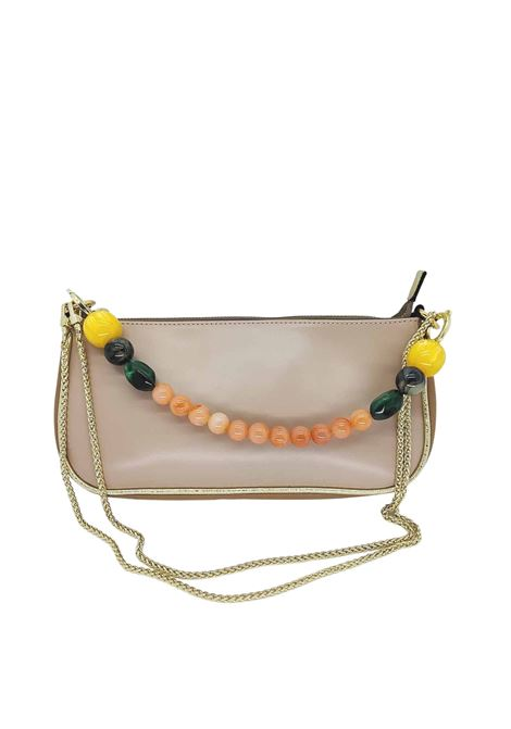Women's Bags Clutch Bag in Nude Eco Leather with Gold Chain and Multicolored Resin Handle Kassiopea | Bags and backpacks | MISSY300