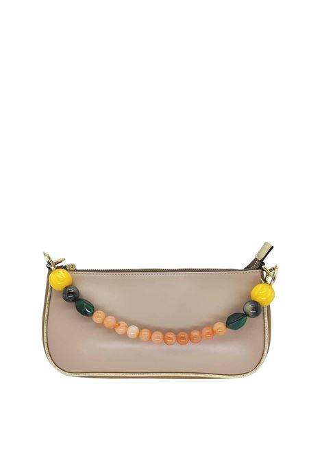 Borse Donna Pochette in Eco Pelle Nude con Catena Oro e Manico in Resina Multicolore Kassiopea | Borse e zaini | MISSY300