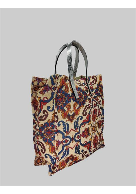 Women's Shopping Bags in Cream Jacquard Fantasy Fabric with Double Handle Kassiopea | Bags and backpacks | UMIL016