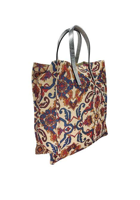 Borse Donna Shopping in Tessuto Panna Fantasia Jacquard con Doppio Manico Kassiopea | Borse e zaini | UMIL016