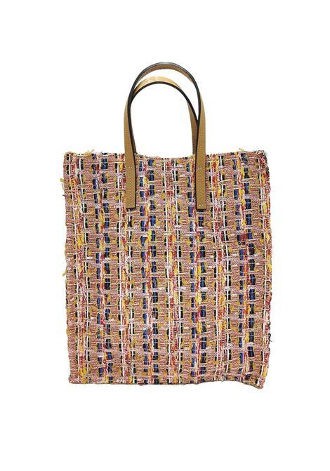 Borse Donna Shopping in Tessuto Pesca Multicolore con Doppio Manico Kassiopea | Borse e zaini | UMIL020