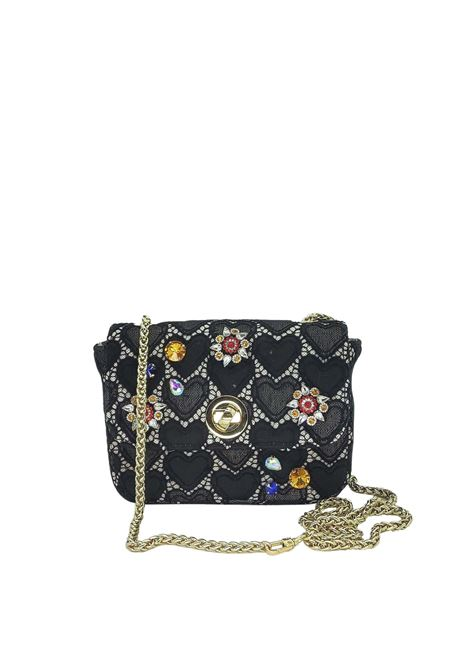 Women's Bags Clutch Bag in Black Fabric with Gold Chain Kassiopea | Bags and backpacks | URIEL001