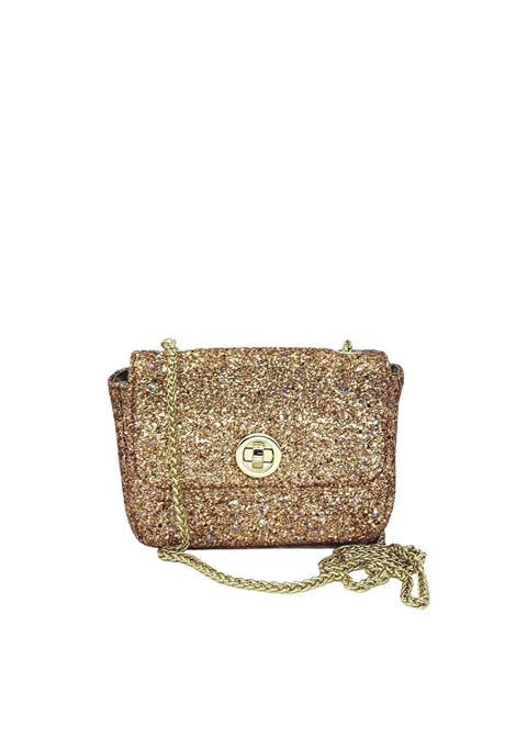 Women's Bags Clutch Bag in Gold Glitter Fabric with Gold Chain Kassiopea | Bags and backpacks | URIEL602