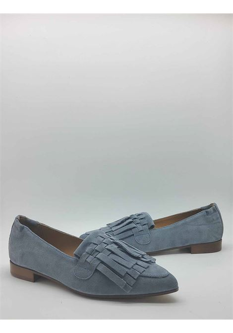 Women's Shoes Pointed Loafers in Powder Blue Suede with Tone-on-Tone Fringes Lamica | Mocassins | SERINA003