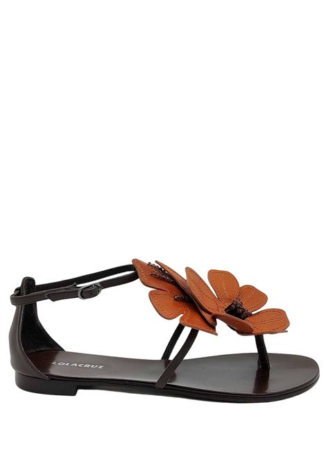 Women's Shoes Flat Sandal Flip Flops in Dark Brown Leather with Large Contrast Leather Leather Flower Lola Cruz | Sandals | 035Z12BK013