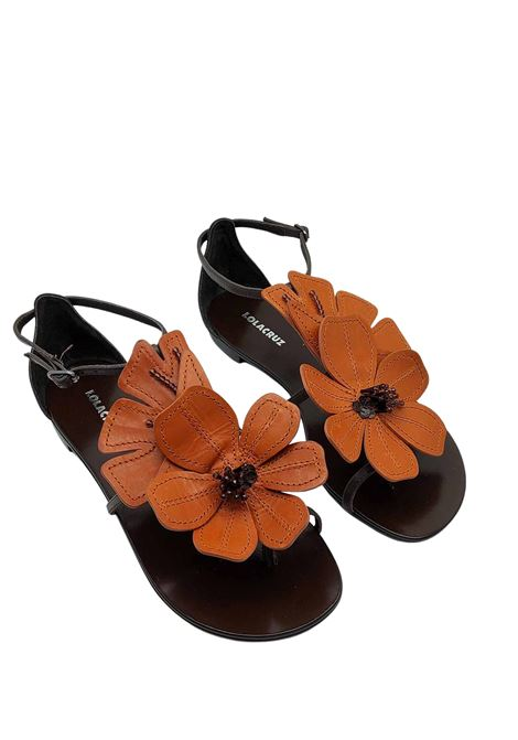 Women's Shoes Flat Sandal Flip Flops in Dark Brown Leather with Large Contrast Leather Leather Flower Lola Cruz | Flat sandals | 035Z12BK013