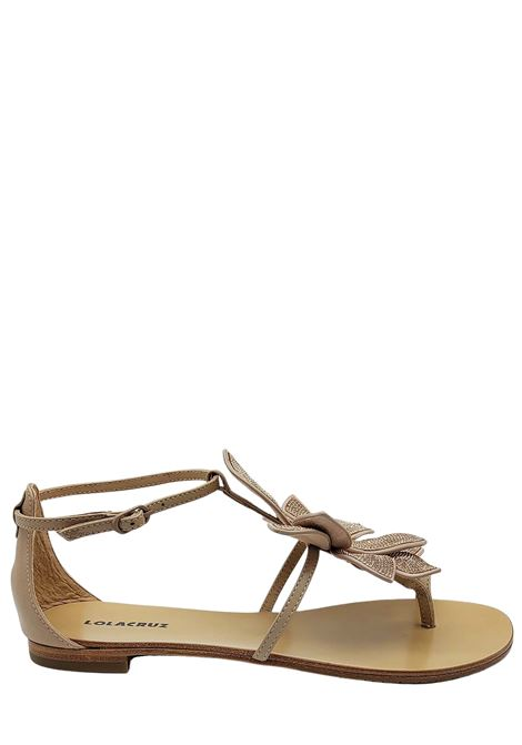 Women's Shoes Flat Sandal Flip Flops in Nude Leather with Large Rose in Tint-on-Tint Beads Lola Cruz | Sandals | 038Z00BK300