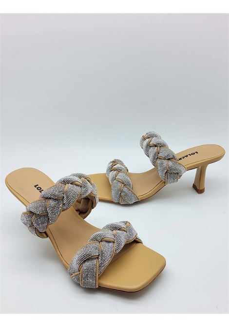 Women's Shoes Camel Leather Sandal with Double Strass Braid and Square Toe Lola Cruz | Sandals | 051Z00BK026