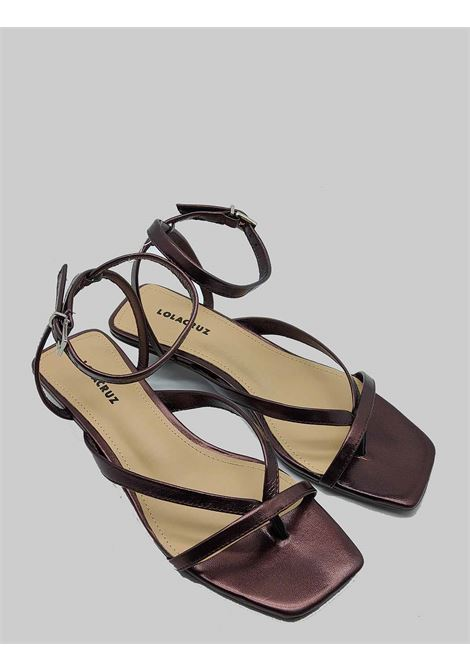 Women's Shoes Thong Sandal in Dark Brown Leather with Strap and Square Toe Lola Cruz | Sandals | 078Z23BK012