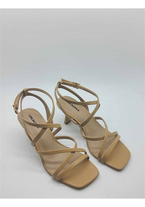 Women's Shoes Camel Leather Sandal with Ankle Strap and Square Toe Lola Cruz | Sandals | 084Z14BK025