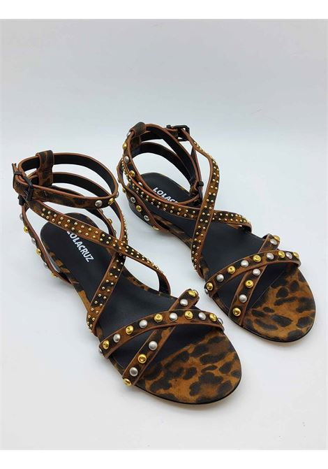 Women's Shoes Low Heel Sandal in Leopard Leopard Suede Leather with Studs and Double Strap Lola Cruz | Sandals | 112Z31BK500