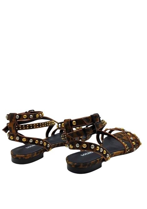 Women's Shoes Low Heel Sandal in Leopard Leopard Suede Leather with Studs and Double Strap Lola Cruz | Flat sandals | 112Z31BK500
