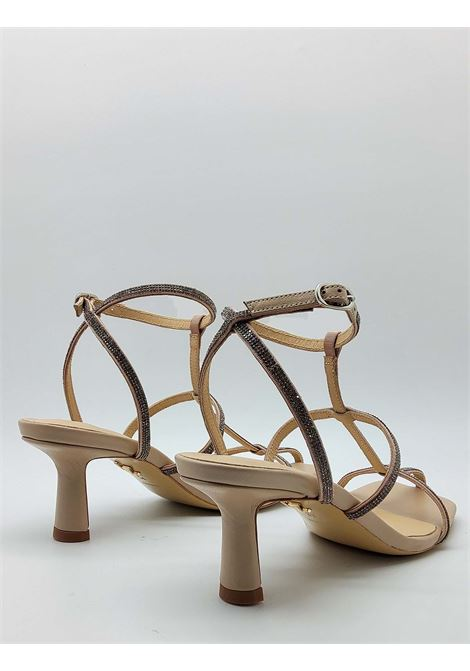 Women's Shoes Sandal in Nude Leather with Strass Straps and Square Toe Lola Cruz | Sandals | 261Z00BK300