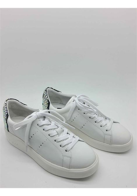 Women's Shoes Sneakers in White Leather with Smile Accessory in Strass Lola Cruz | Sneakers | 474Z15BK100