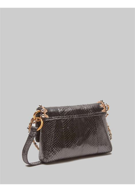 Women's Exotic Whipstitch Small Shoulder Bag in Black and Silver Wips Maliparmi | Bags and backpacks | BD00640145620B96