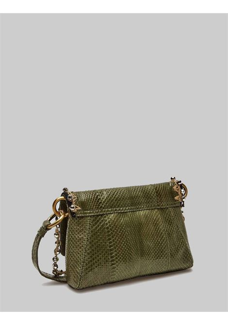 Women's Small Shoulder Bag Exotic Whipstitch in Green and Silver Wips Maliparmi | Bags and backpacks | BD00640145660B96