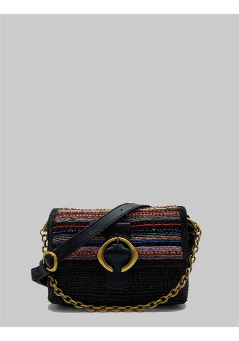 Small Shoulder Bag Woman Beads Stripes in Black Multicolor Cotton Maliparmi | Bags and backpacks | BD00649076620B99