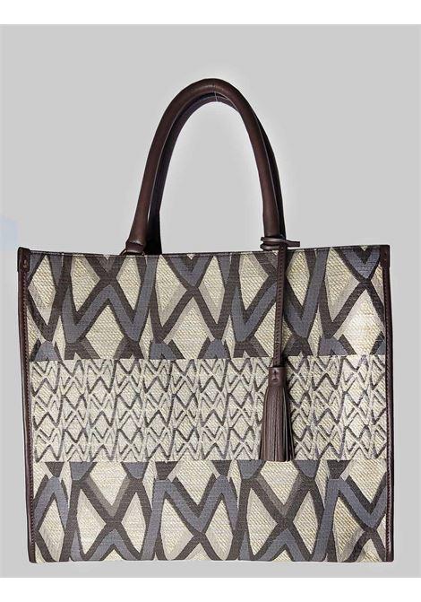 Borsa Donna Shopping Grande a Spalla Iconic Jacquard in Pelle Naturale e Moro Maliparmi | Borse e zaini | BH024101452B1242