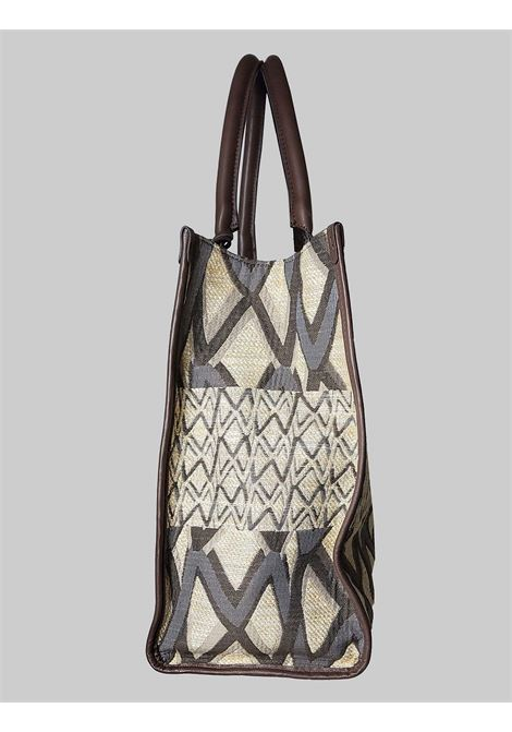 Woman Shopping Bag Large Iconic Jacquard Shoulder in Natural and Dark Brown Leather Maliparmi | Bags and backpacks | BH024101452B1242