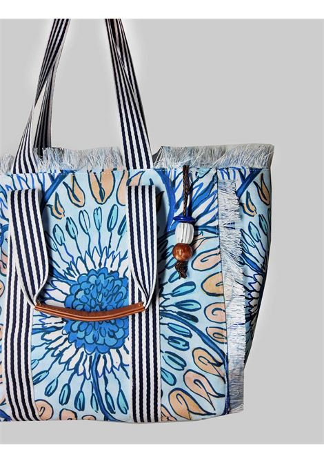 Women's Summer Breakfast Shopping Bag in Light Blue and Blue Fantasy Cotton Maliparmi | Bags and backpacks | BH026010134A8146