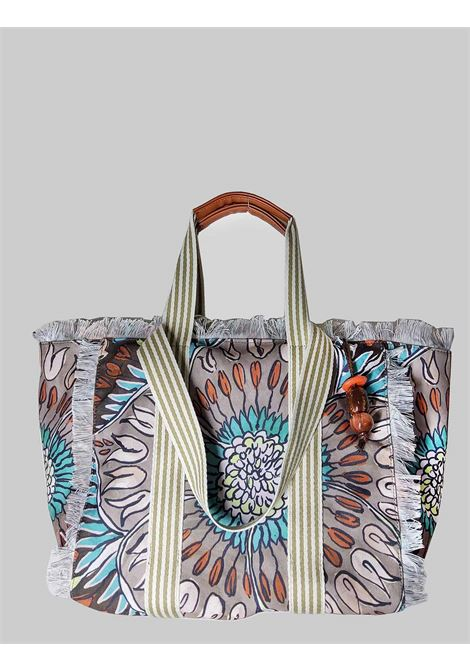 Borsa Donna Shopping Summer Breakfast in Cotone Fantasia Marrone e Taupe Maliparmi | Borse e zaini | BH026010134B4067