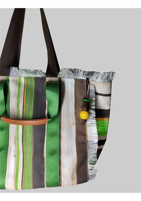 Shopping Bag Painted Stripes in Cotton with Green and Natural Pattern Maliparmi | Bags and backpacks | BH026010135C6022