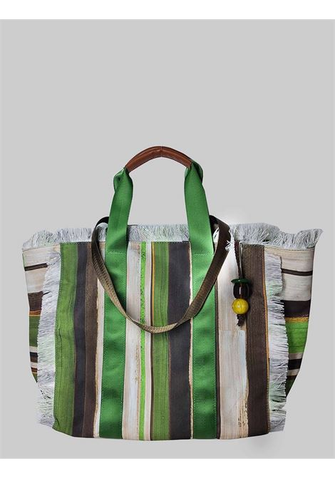 Borsa Donna Shopping Painted Stripes in Cotone a Fantasia Verde e Naturale Maliparmi | Borse e zaini | BH026010135C6022