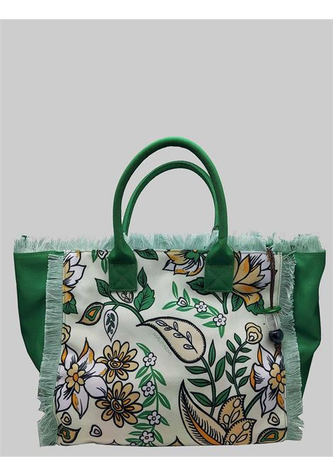 Shopping Bag Flower Print in Natural Cotton and Green Maliparmi | Bags and backpacks | BH026060043B1233
