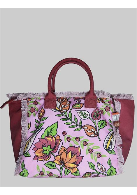 Woman Shopping Flower Print Bag in Pink Cotton Maliparmi | Bags and backpacks | BH026060043B3219