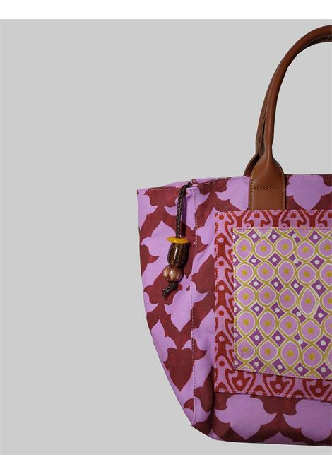 Woman Shopping Bag Ceres Diamond Print in Fuxia and Red Fantasy Cotton Maliparmi | Bags and backpacks | BH026060044B3227