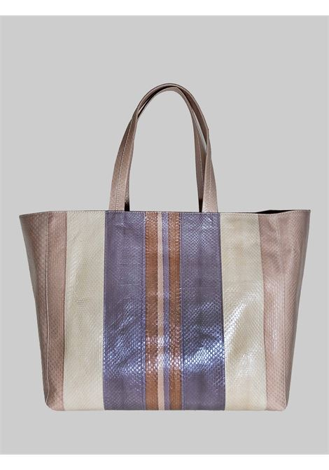 Woman Shopping Bag Large Exotic Stripes in Multicolored Powder Wips with Shoulder Handles in Matching Color Maliparmi | Bags and backpacks | BH02620142411B99