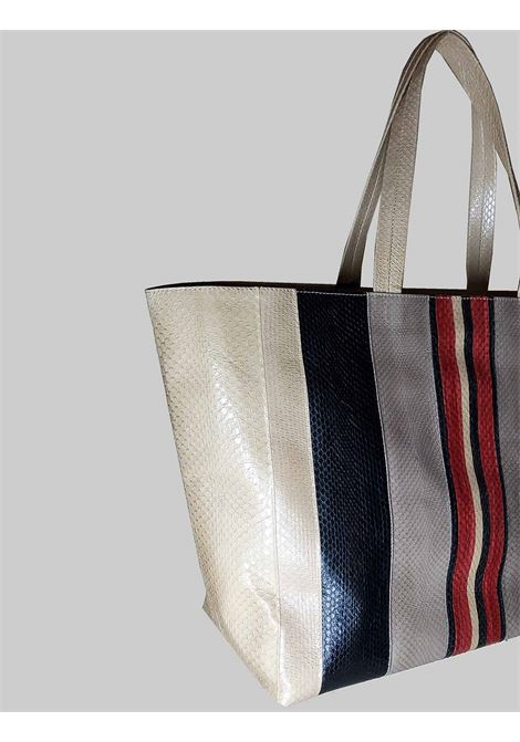 Woman Shopping Bag Large Exotic Stripes in Natural Multicolor Wips with Shoulder Handles in Matching Color Maliparmi | Bags and backpacks | BH02620142432B99