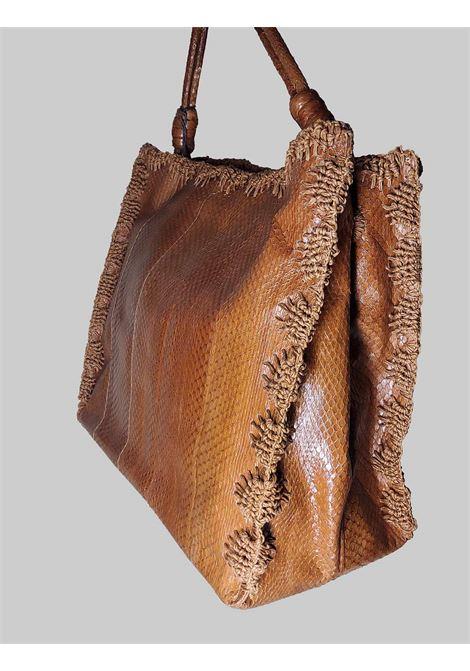 Borsa Donna Grande a Mano Exotic Crochet in Wips Cuoio con Impunture in Tinta Maliparmi | Borse e zaini | BI00220143840008