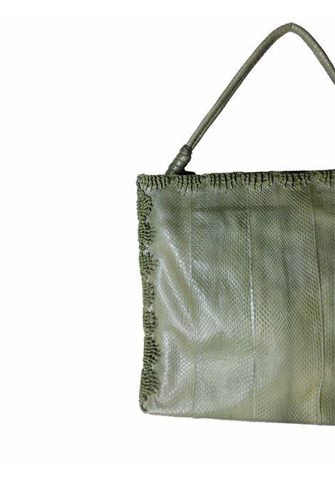 Borsa Donna Grande a Mano Exotic Crochet in Wips Verde con Impunture in Tinta Maliparmi | Borse e zaini | BI00220143860010