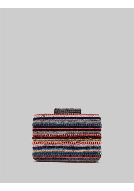 Woman Clutch Bag with Removable Chain Shoulder Strap Clutch Beads Stripes Black Multicolor Maliparmi | Bags and backpacks | BP00079076620B99