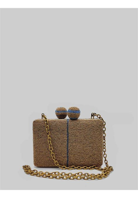 Woman Clutch Cuts & Beads Bag in Bronze and Light Blue Pattern with Removable Gold Chain Shoulder Strap Maliparmi | Bags and backpacks | BP00079106992B81