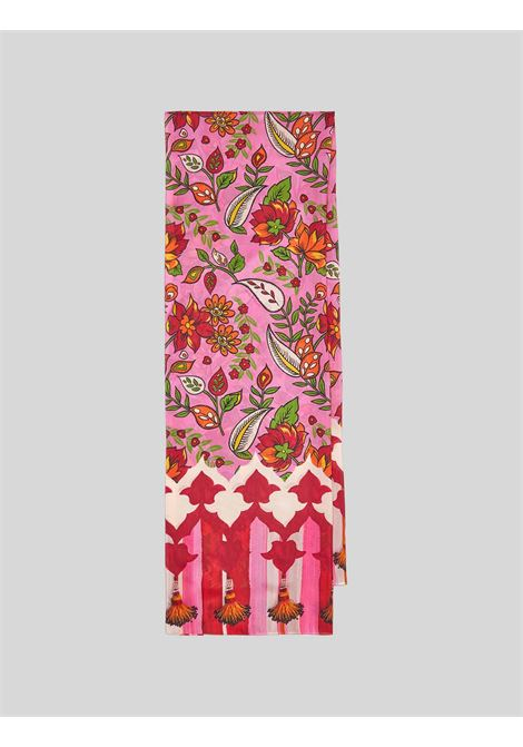 Accessori Donna Stola Collection Print in Pura Seta 100% Rosa e Crema Maliparmi | Sciarpe e foulard | IB024130099B3225