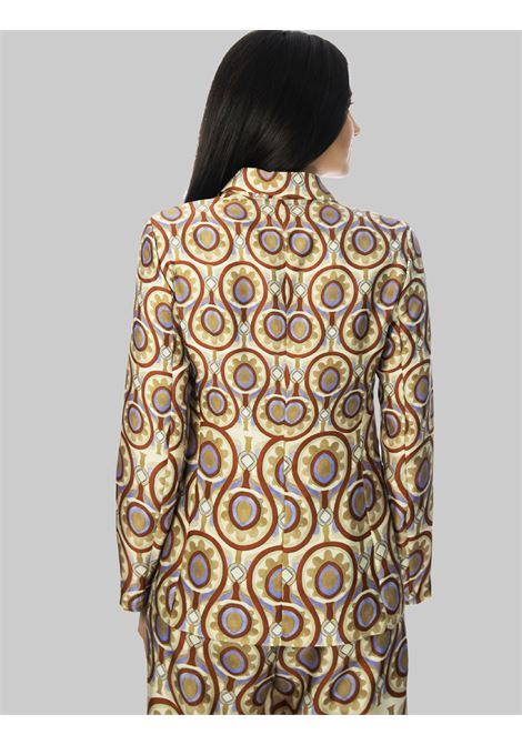 Women's Clothing One Button Ottoman Twill Jacket in Beige and Mauve Maliparmi |  | JD625560046B1229