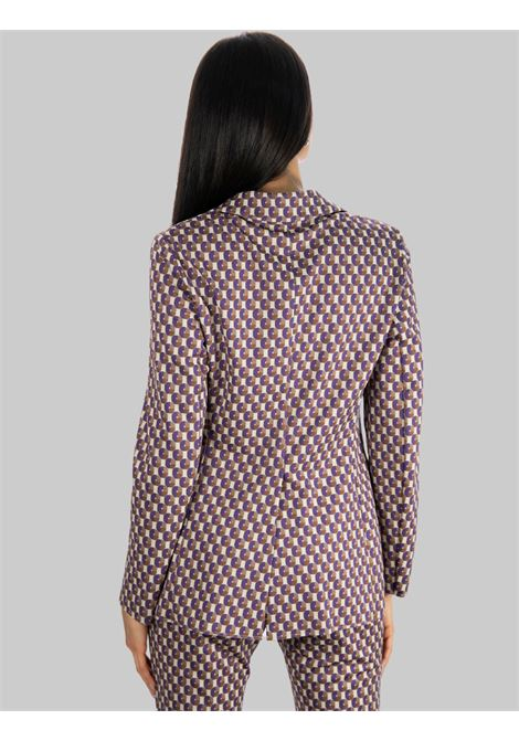 Women's Clothing Two-Button Geometric Jacquard Jacket in Beige and Purple Maliparmi |  | JD638060048B1236