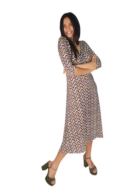 Women's Clothing Long Dress in Jersey Happy Frame in Natural and Beige Pattern Maliparmi |  | JF631370493B1104