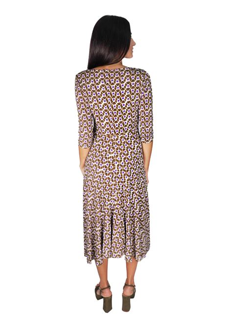 Abbigliamento Donna Abito Lungo in Jersey Happy Frame in Fantasia Naturale e Beige Maliparmi | Abiti | JF631370493B1104