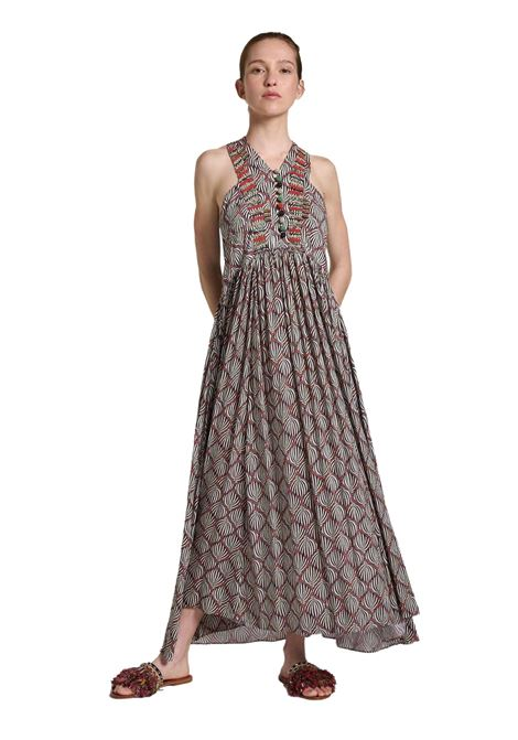 Women's Clothing Long Dress Printed in Brown Geometric Palms Pattern with Beaded Embroidery Maliparmi |  | JF642150551B1226