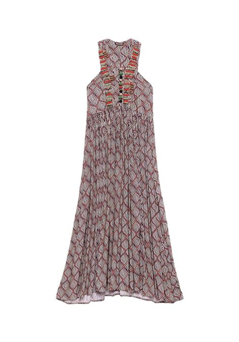 Women's Clothing Long Dress Printed in Brown Geometric Palms Pattern with Beaded Embroidery Maliparmi | Dresses | JF642150551B1226