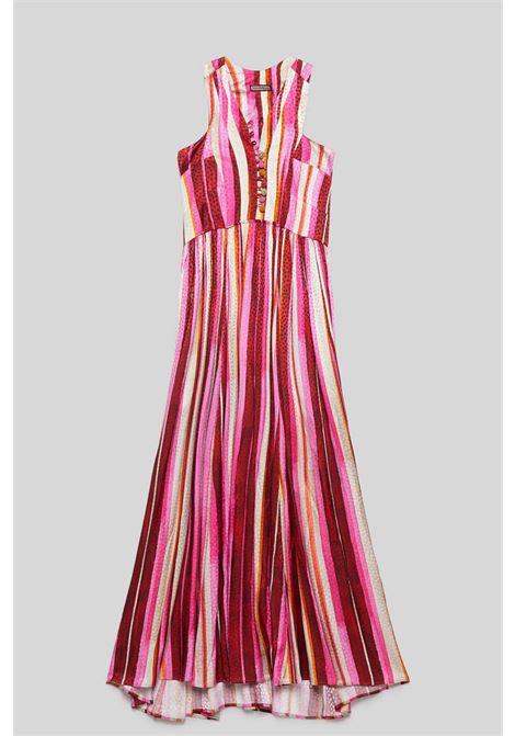 Abbigliamento Donna Abito Lungo Senza Maniche Stripes Jacquard a Fantasia Rosa e Rosso Maliparmi | Abiti | JF642150557B3223