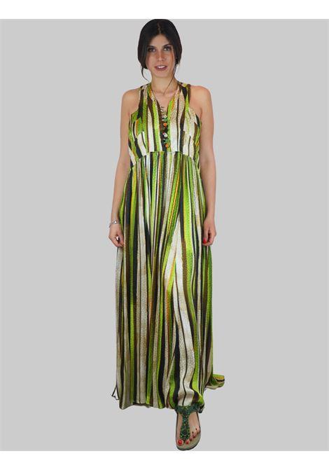Abbigliamento Donna Abito Lungo Senza Maniche Stripes Jacquard a Fantasia Verde e Naturale Maliparmi | Abiti | JF642150557C6022
