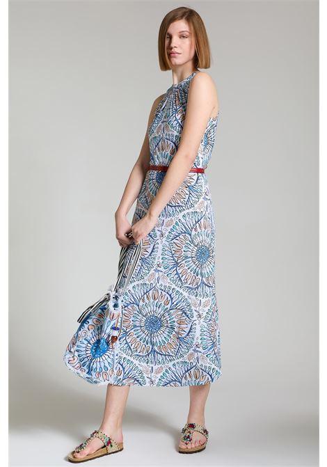 Abbigliamento Donna Abito Lungo Welcome Summer in Azzurro e Blu con Scollo Americana Maliparmi | Abiti | JF642870407A8146