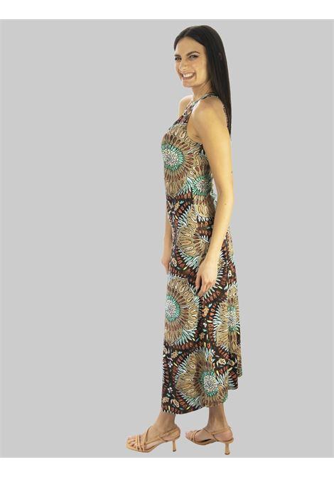 Abbigliamento Donna Abito Lungo Welcome Summer in Marrone e Taupe con Scollo Americana Maliparmi | Abiti | JF642870407B4037