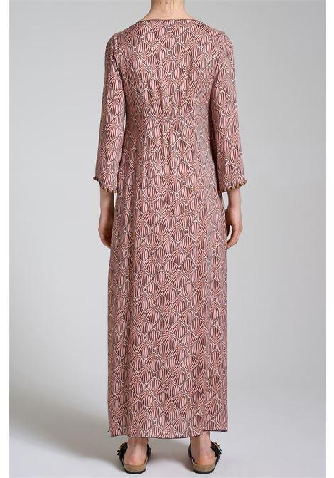 Abbigliamento Donna Abito Lungo Geometric Palms Stamapato a Fantasia Rosa e Boredeaux Maliparmi | Abiti | JF643450551B3213